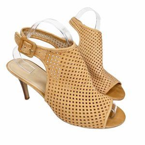 Marc Fisher perforated suede slingback peep toe